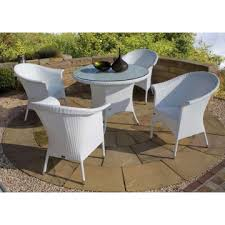 4 chairs white rattan outdoor round glass dining table