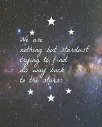 Stardust Quotes Magnificent We Are Nothing But Stardust Trying To Find Its Way Back To The Stars