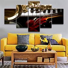 decor living room wall art pictures framed 5 panel western musical instruments home painting modular hd on framed western wall art with decor living room wall art pictures framed 5 panel western musical