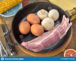 Eco <b>Chicken Eggs</b>.Champignons.Bacon Of Pork Belly Are Fried In A ...