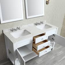 Ariel by Seacliff Mayfield 60 White Double Sink Bathroom Vanity Set