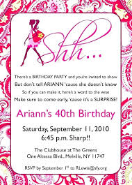 40th birthday invitation wording party for her template