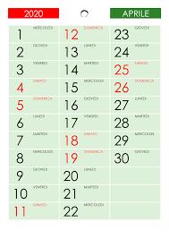 Calendario aprile 2020 – calendario.su