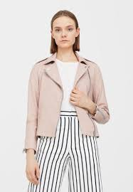 mango mer leather jacket light pink women attractive design