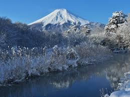 Fuji Berg Schnee Winter Bäume Fluss Japan 1920x1440 Hd