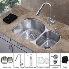 discontinued 30 inch undermount double bowl stainless steel kitchen sink with chrome kitchen faucet and