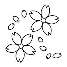 桜さくらの 白黒白抜きイラスト 商用フリー無料のイラスト