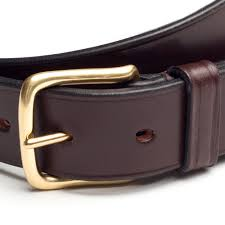 bridle leather belt with brass buckle brown
