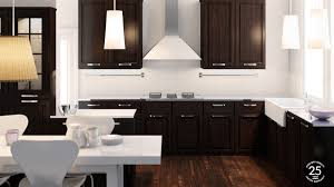 Kitchenall Black Kitchen On All Light Wood Floor Standout Contrast - Dark brown kitchen cabinets