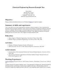 Chemical Engineering Internship Resume Samples Resume Online Builder