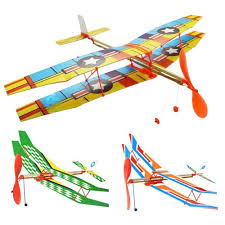 diy hand throw flying glider plane toy elastic rubber band powered airplane assembly model toys cod