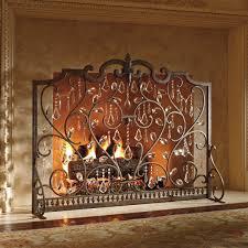 louviere fire screen frontgate stylish heat fireplace crystal modern brown iron decor