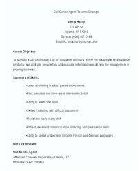 Sample Resume For A Call Center Agent Call Center Resume Emelcotest Com