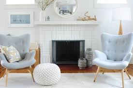 nordic inspired white brick fireplace