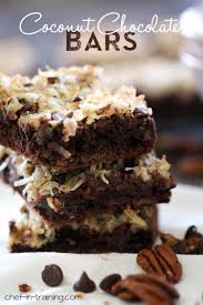 chocolate coconut bars from chef in coconut