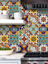 Mexican Tile Kitchen Tile Stickers For Kitchen Bath Or Floor Waterproof Mexican Spanish