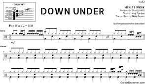 drums sheet music down under men at work drum sheet music onlinedrummer com
