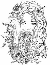 Pretty Girl With Flowers Coloring Page Recolor App Beautiful