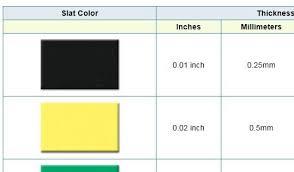 Acrylic Slat Conversion Chart Acrylic Slats Are Used To