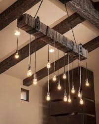 rustic wooden beam industrial chandelier luxury track lighting
