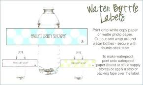 Water Bottles Templates Free Printable Water Bottle Labels Template Baby Shower