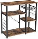 VASAGLE Kitchen Bakers Rack, Utility Storage Shelf, Microwave Oven Stand Metal Frame UKKS90X
