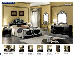 Mirrored Bedroom Dressers Barocco Black W Silver Camelgroup Italy Classic Bedrooms