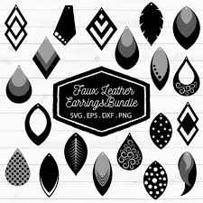 faux leather earrings bundle svg eps dxf png example image 2