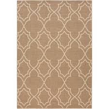 alf9587 69 6 x 9 medium camel and cream indoor outdoor rug alfresco