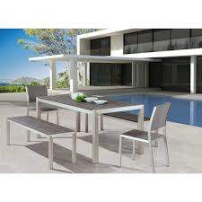 outdoor wood dining table. Outdoor Furniture - Modern Aluminum Grey Dining Table \u2014 Brushed \u0026 Faux Wood