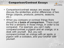 pertemuan comparison contrast matakuliah writing iii  4 comparison contrast essays comparison contrast essays are essays that discuss the similarities and