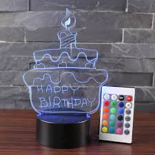 Strobe Light Cake 3d Lamp Visual Light Birthday Cake