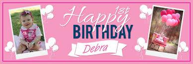 1st birthday banner happy 1st birthday pink balloons theme
