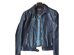 massimo dutti jackets jackets leather blue ref 51930