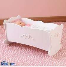 baby doll cradle american girl dolls 18 furniture white wood crib rocking bed