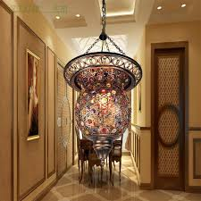 turkish moroccan bohemia turkish pendant light mosaic stained glass corridor stairwell cafe restaurant hanging light lamp pendant ceiling lights hanging