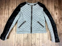 details about b hip by me jane youth girls size 12 gray faux vegan leather moto jacket quilted