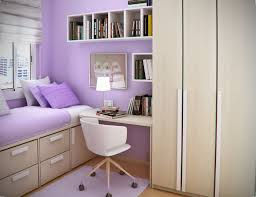 Simple Design For Small Bedroom Decorations Light Purple Painted Wall With Mounted Wall Bookcase