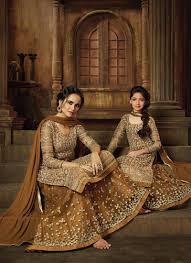 Mother Designer Chennai Brilliant Mother Daughter Dress For Wedding Beige Net
