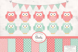 Mint and coral Nursery Creative Market Mint Coral Owl Clipart Papers Illustrations Creative Market
