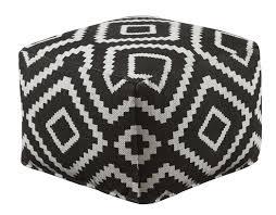 Black And White Pouf Geometric Black Pouf Michaels Furniture Store View