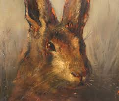 antique 19th century oil painting on wood panel portrait of a hare in classic tradition ruby lane