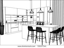 interior design kitchen drawings. Simple Interior 3D Vector Sketch Modern Kitchen Design In Home Interior Kitchen  There Is Intended Interior Design Drawings