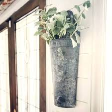 metal wall vase metal wall vase pocket galvanized metal wall pocket planter olive bucket stylish throughout