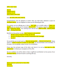 Offer Letter Format Download The Format Of Offer Letter