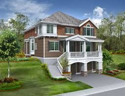 living room walkout basement cottage plans top sloped lot house