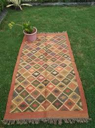 hand woven kilim area rug jute wool oriental area rug traditional home decorative area rug