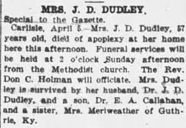 Mrs. J. D. (Cornelia) Dudley obituary - Newspapers.com