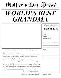 Word S Day Template Mother S Day Newspaper For Grandma Free Printable For The