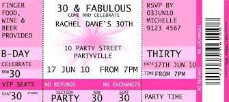 Concert Ticket Invitation Template Wedding Birthday Party ...